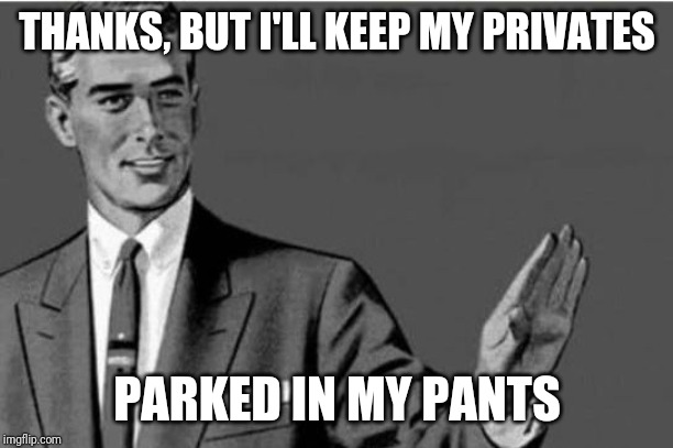 No thanks | THANKS, BUT I'LL KEEP MY PRIVATES PARKED IN MY PANTS | image tagged in no thanks | made w/ Imgflip meme maker