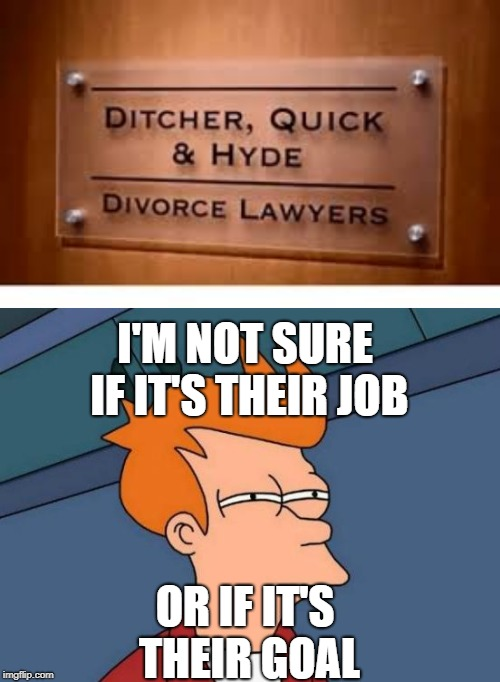 Divorce lawyers | I'M NOT SURE IF IT'S THEIR JOB OR IF IT'S THEIR GOAL | image tagged in memes,futurama fry,divorce,lawyers | made w/ Imgflip meme maker