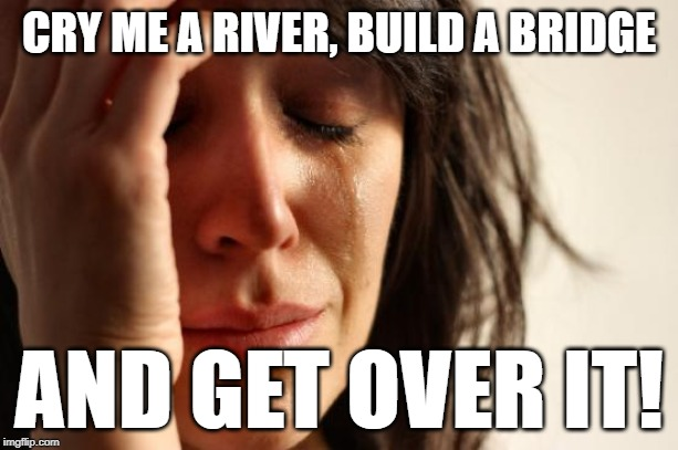First World Problems Meme | CRY ME A RIVER, BUILD A BRIDGE AND GET OVER IT! | image tagged in memes,first world problems | made w/ Imgflip meme maker