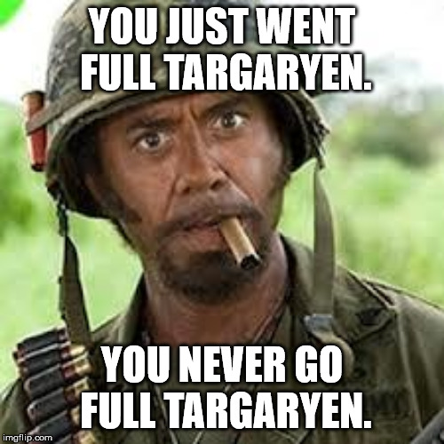 Never go full retard | YOU JUST WENT FULL TARGARYEN. YOU NEVER GO FULL TARGARYEN. | image tagged in never go full retard | made w/ Imgflip meme maker