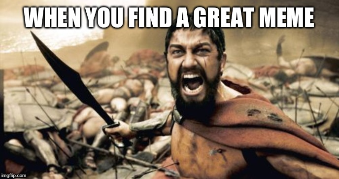 Sparta Leonidas Meme | WHEN YOU FIND A GREAT MEME | image tagged in memes,sparta leonidas | made w/ Imgflip meme maker