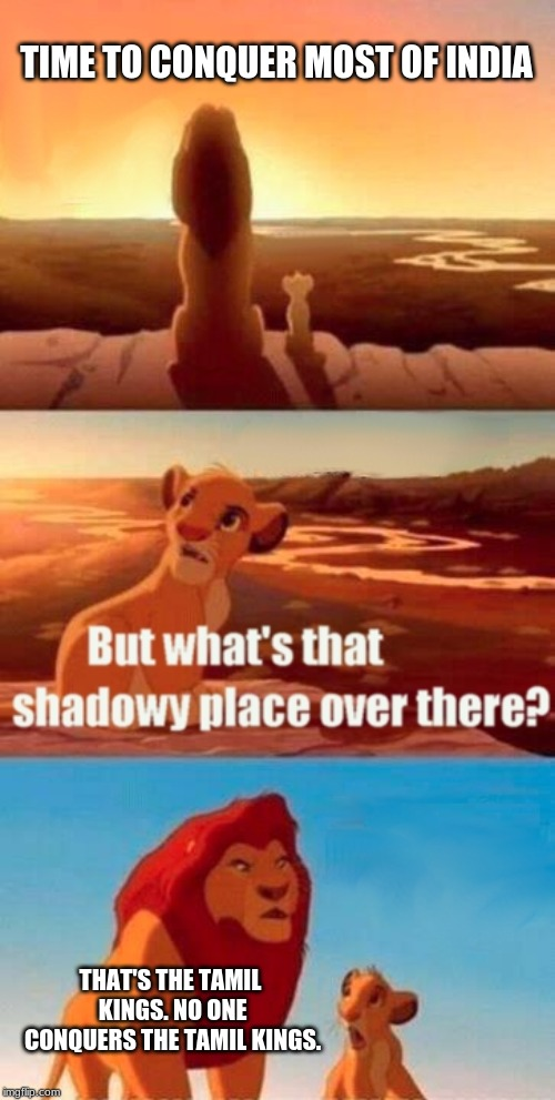 Simba Shadowy Place Meme | TIME TO CONQUER MOST OF INDIA THAT'S THE TAMIL KINGS. NO ONE CONQUERS THE TAMIL KINGS. | image tagged in memes,simba shadowy place | made w/ Imgflip meme maker