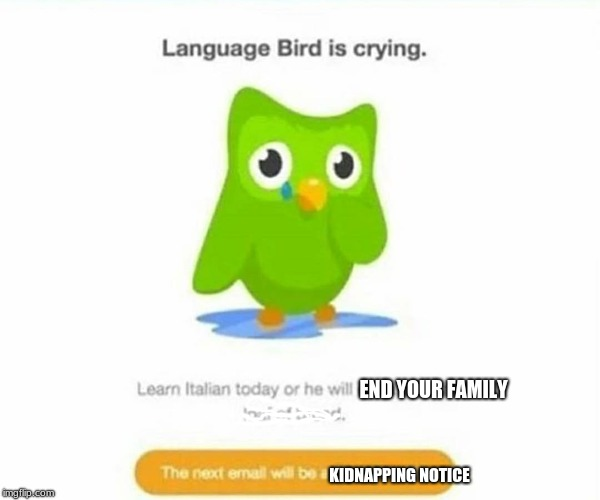 Duolingo bird | KIDNAPPING NOTICE END YOUR FAMILY | image tagged in duolingo bird | made w/ Imgflip meme maker