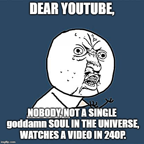 Y U No Meme | DEAR YOUTUBE, NOBODY, NOT A SINGLE go***mn SOUL IN THE UNIVERSE, WATCHES A VIDEO IN 24OP. | image tagged in memes,y u no | made w/ Imgflip meme maker