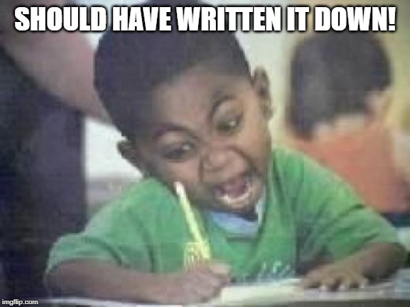 Writing Kid | SHOULD HAVE WRITTEN IT DOWN! | image tagged in writing kid | made w/ Imgflip meme maker