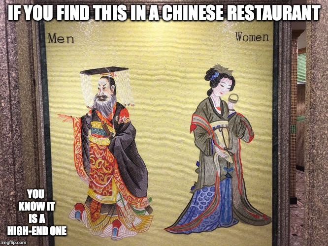 Restroom Mosaic | IF YOU FIND THIS IN A CHINESE RESTAURANT YOU KNOW IT IS A HIGH-END ONE | image tagged in mosaic,art,memes,restaurant,restroom | made w/ Imgflip meme maker