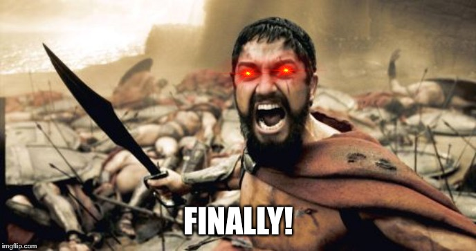 Sparta Leonidas Meme | FINALLY! | image tagged in memes,sparta leonidas | made w/ Imgflip meme maker