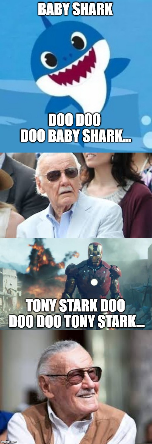 BABY SHARK; DOO DOO DOO BABY SHARK... TONY STARK DOO DOO DOO TONY STARK... | image tagged in iron man,baby shark,marvel,stan lee | made w/ Imgflip meme maker
