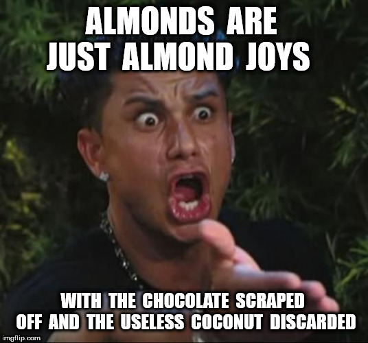 ALMONDS  ARE  JUST  ALMOND  JOYS WITH  THE  CHOCOLATE  SCRAPED  OFF  AND  THE  USELESS  COCONUT  DISCARDED | image tagged in memes,dj pauly d | made w/ Imgflip meme maker