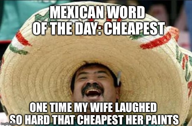 mexican word of the day | MEXICAN WORD OF THE DAY: CHEAPEST ONE TIME MY WIFE LAUGHED SO HARD THAT CHEAPEST HER PAINTS | image tagged in mexican word of the day | made w/ Imgflip meme maker