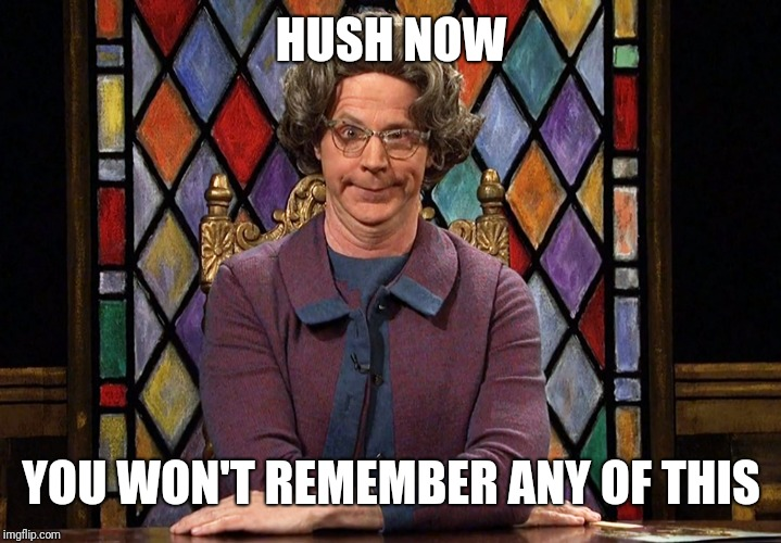 The Church Lady |  HUSH NOW; YOU WON'T REMEMBER ANY OF THIS | image tagged in the church lady | made w/ Imgflip meme maker