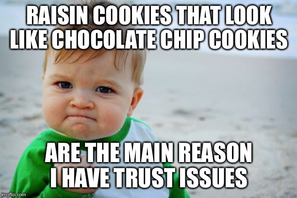 Success Kid Original | RAISIN COOKIES THAT LOOK LIKE CHOCOLATE CHIP COOKIES ARE THE MAIN REASON I HAVE TRUST ISSUES | image tagged in memes,success kid original | made w/ Imgflip meme maker