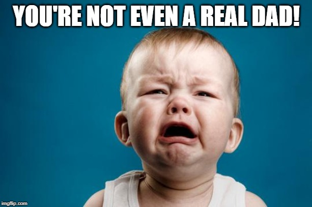 BABY CRYING | YOU'RE NOT EVEN A REAL DAD! | image tagged in baby crying | made w/ Imgflip meme maker