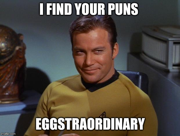 Kirk Smirk | I FIND YOUR PUNS EGGSTRAORDINARY | image tagged in kirk smirk | made w/ Imgflip meme maker