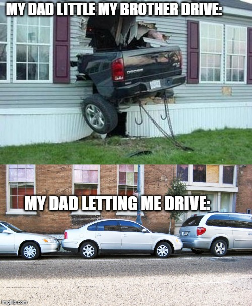 MY DAD LITTLE MY BROTHER DRIVE: MY DAD LETTING ME DRIVE: | image tagged in funny car crash | made w/ Imgflip meme maker