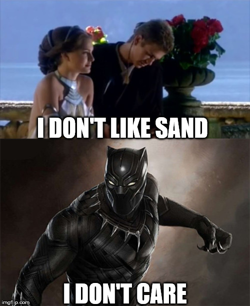 if this happend in Star Wars | I DON'T LIKE SAND I DON'T CARE | image tagged in black panther,anakin skywalker,star wars,marvel,memes,funny | made w/ Imgflip meme maker