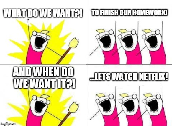 Admit it, we have all done this | WHAT DO WE WANT?! TO FINISH OUR HOMEWORK! AND WHEN DO WE WANT IT?! ...LETS WATCH NETFLIX! | image tagged in memes,what do we want | made w/ Imgflip meme maker