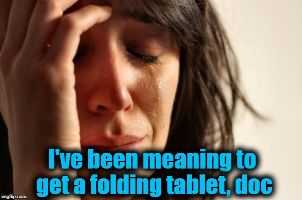 First World Problems Meme | I've been meaning to get a folding tablet, doc | image tagged in memes,first world problems | made w/ Imgflip meme maker