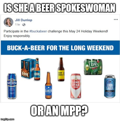 Down With Ford Nation | IS SHE A BEER SPOKESWOMAN OR AN MPP? | image tagged in buck a beer,jill dunlop,mpp,ontario | made w/ Imgflip meme maker