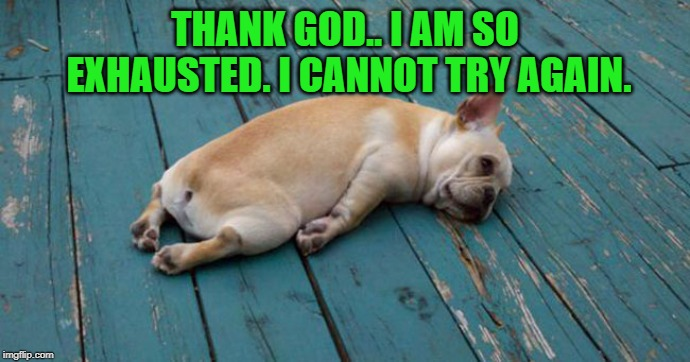 Exhausted  | THANK GOD.. I AM SO EXHAUSTED. I CANNOT TRY AGAIN. | image tagged in exhausted | made w/ Imgflip meme maker