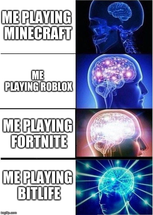 Expanding Brain Meme | ME PLAYING MINECRAFT ME PLAYING ROBLOX ME PLAYING FORTNITE ME PLAYING BITLIFE | image tagged in memes,expanding brain | made w/ Imgflip meme maker
