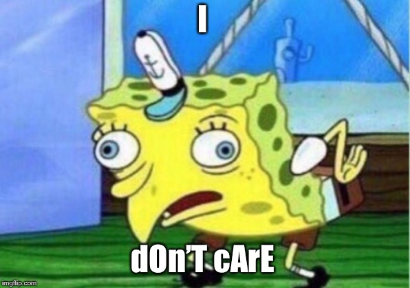 Mocking Spongebob Meme | I dOn'T cArE | image tagged in memes,mocking spongebob | made w/ Imgflip meme maker