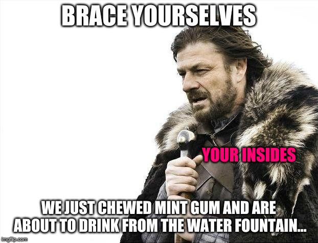 Brace Yourself Mint Gum + Cold is Coming | BRACE YOURSELVES WE JUST CHEWED MINT GUM AND ARE ABOUT TO DRINK FROM THE WATER FOUNTAIN... YOUR INSIDES | image tagged in memes,brace yourselves x is coming,gum,cold,funny,uh oh | made w/ Imgflip meme maker