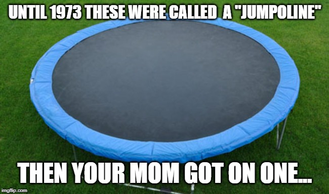 "trampoline | UNTIL 1973 THESE WERE CALLED  A ""JUMPOLINE"" THEN YOUR MOM GOT ON ONE... 