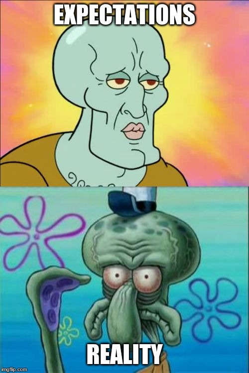 Squidward Meme | EXPECTATIONS REALITY | image tagged in memes,squidward | made w/ Imgflip meme maker