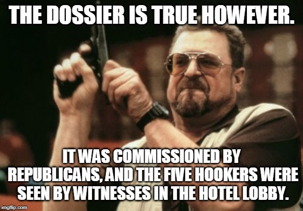 Am I The Only One Around Here Meme | THE DOSSIER IS TRUE HOWEVER. IT WAS COMMISSIONED BY REPUBLICANS, AND THE FIVE HOOKERS WERE SEEN BY WITNESSES IN THE HOTEL LOBBY. | image tagged in memes,am i the only one around here | made w/ Imgflip meme maker