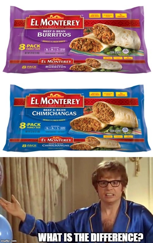 Hard to choose, Chimi, or Burrito? | WHAT IS THE DIFFERENCE? | image tagged in memes,austin powers honestly,fun,food,confused | made w/ Imgflip meme maker