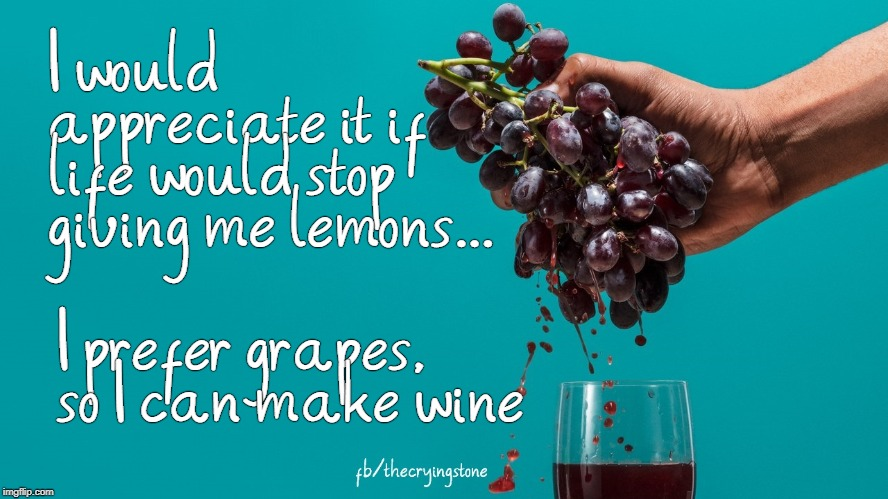 I would appreciate it if life would stop giving me lemons... I prefer grapes, so I can make wine | image tagged in grapes,wine,lemons | made w/ Imgflip meme maker