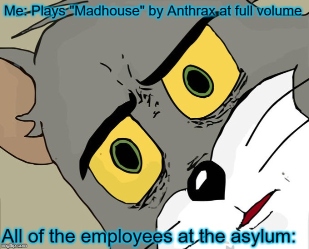 "Some songs are just not meant to be played out in public | Me: Plays ""Madhouse"" by Anthrax at full volume All of the employees at the asylum: 