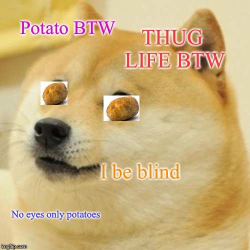 Doge Meme | Potato BTW THUG LIFE BTW I be blind No eyes only potatoes | image tagged in memes,doge | made w/ Imgflip meme maker