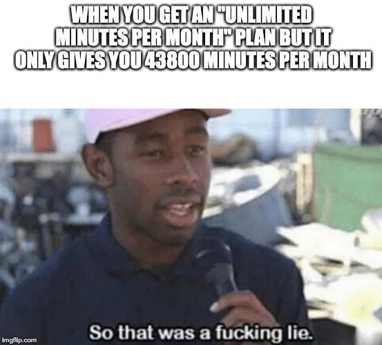 "I wanted a time manipulation device, damn it! | WHEN YOU GET AN ""UNLIMITED MINUTES PER MONTH"" PLAN BUT IT ONLY GIVES YOU 43800 MINUTES PER MONTH 