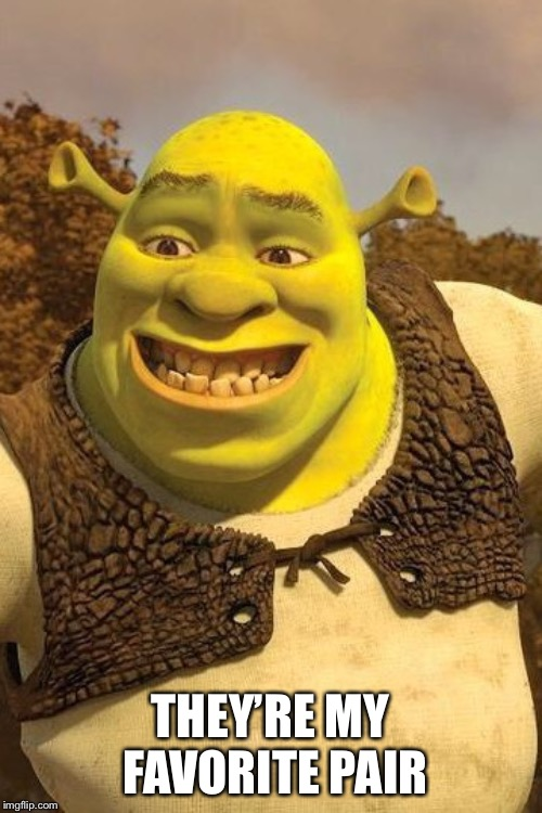 Smiling Shrek | THEY'RE MY FAVORITE PAIR | image tagged in smiling shrek | made w/ Imgflip meme maker