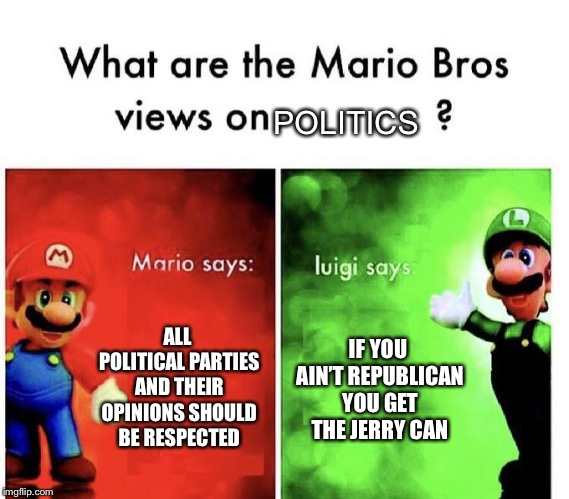 Mario Bros Views | ALL POLITICAL PARTIES AND THEIR OPINIONS SHOULD BE RESPECTED IF YOU AIN'T REPUBLICAN YOU GET THE JERRY CAN POLITICS | image tagged in mario bros views | made w/ Imgflip meme maker
