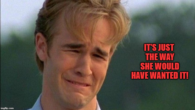 crying dawson | IT'S JUST THE WAY SHE WOULD HAVE WANTED IT! | image tagged in crying dawson | made w/ Imgflip meme maker