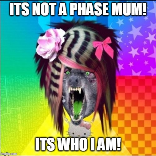 Scene Wolf |  ITS NOT A PHASE MUM! ITS WHO I AM! | image tagged in memes,scene wolf | made w/ Imgflip meme maker