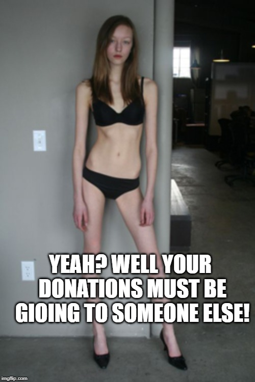 Skinny Girl | YEAH? WELL YOUR DONATIONS MUST BE GIOING TO SOMEONE ELSE! | image tagged in skinny girl | made w/ Imgflip meme maker