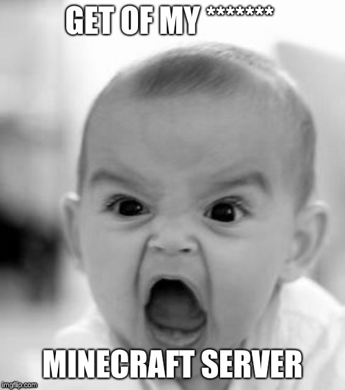Angry Baby Meme | GET OF MY ******* MINECRAFT SERVER | image tagged in memes,angry baby | made w/ Imgflip meme maker