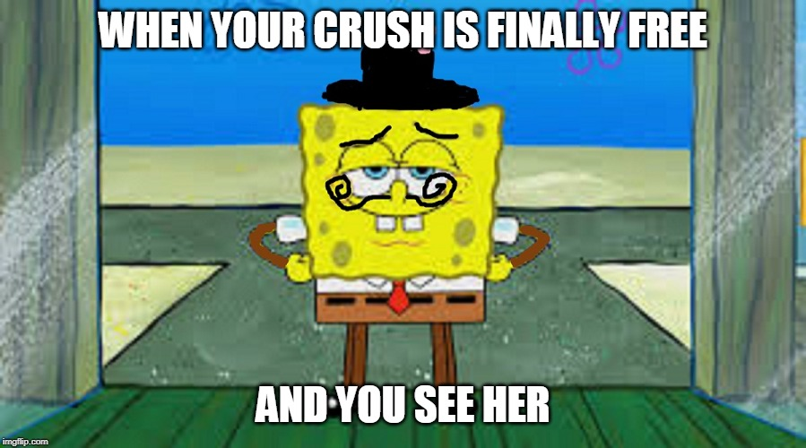 memenew1 | WHEN YOUR CRUSH IS FINALLY FREE AND YOU SEE HER | image tagged in crush | made w/ Imgflip meme maker