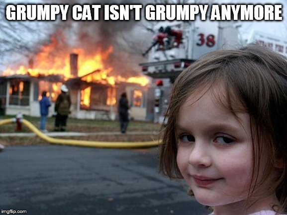 Disaster Girl Meme | GRUMPY CAT ISN'T GRUMPY ANYMORE | image tagged in memes,disaster girl | made w/ Imgflip meme maker