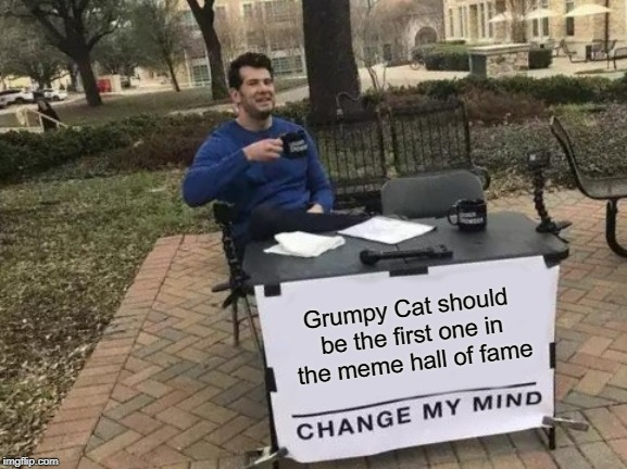 Change My Mind Meme | Grumpy Cat should be the first one in the meme hall of fame | image tagged in memes,change my mind | made w/ Imgflip meme maker