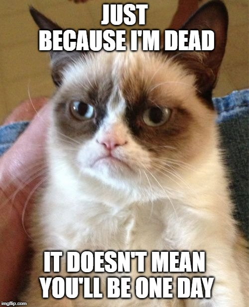 Rest in peace you frowning feline | JUST BECAUSE I'M DEAD IT DOESN'T MEAN YOU'LL BE ONE DAY | image tagged in memes,grumpy cat,r i p | made w/ Imgflip meme maker