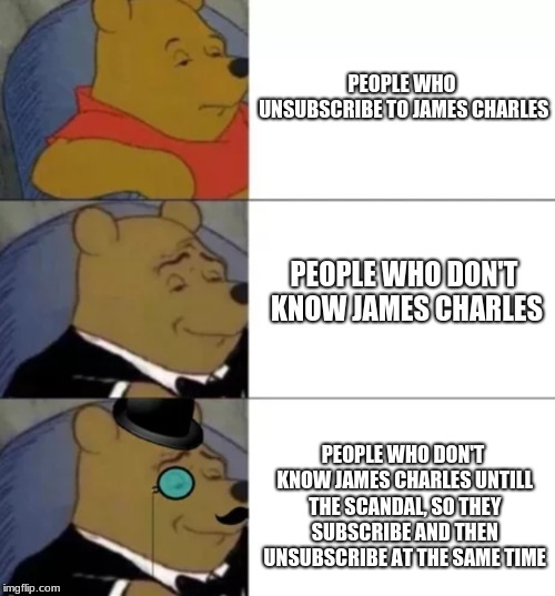 Just Another James Charles Meme | PEOPLE WHO UNSUBSCRIBE TO JAMES CHARLES PEOPLE WHO DON'T KNOW JAMES CHARLES PEOPLE WHO DON'T KNOW JAMES CHARLES UNTILL THE SCANDAL, SO THEY  | image tagged in fancy pooh,james charles,memes | made w/ Imgflip meme maker
