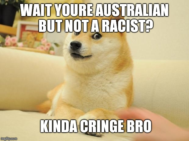 Doge 2 | WAIT YOURE AUSTRALIAN BUT NOT A RACIST? KINDA CRINGE BRO | image tagged in memes,doge 2 | made w/ Imgflip meme maker