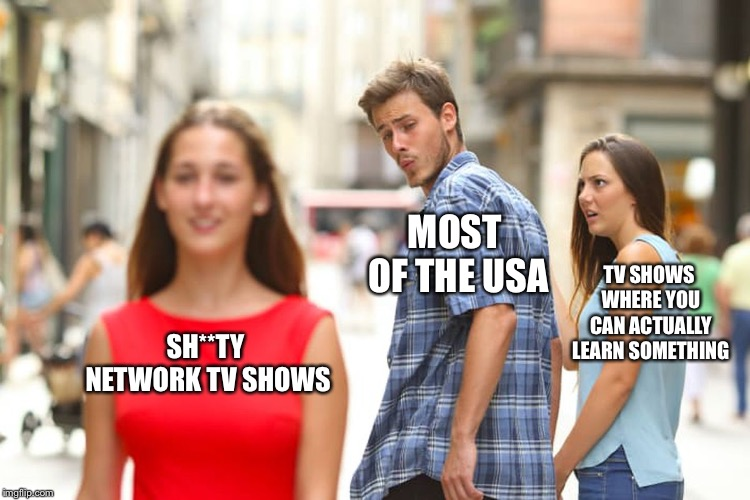 Distracted Boyfriend Meme | SH**TY NETWORK TV SHOWS MOST OF THE USA TV SHOWS WHERE YOU CAN ACTUALLY LEARN SOMETHING | image tagged in memes,distracted boyfriend | made w/ Imgflip meme maker