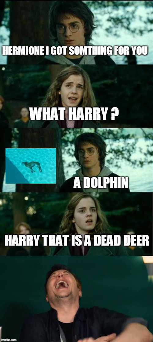 Enjoy the dolphin hermione | HERMIONE I GOT SOMTHING FOR YOU WHAT HARRY ? A DOLPHIN HARRY THAT IS A DEAD DEER | image tagged in memes,horny harry,elon musk,dolphin,reindeer | made w/ Imgflip meme maker
