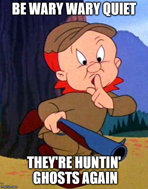 Elmer Fudd | BE WARY WARY QUIET THEY'RE HUNTIN' GHOSTS AGAIN | image tagged in elmer fudd | made w/ Imgflip meme maker